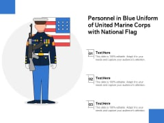 Personnel In Blue Uniform Of United Marine Corps With National Flag Ppt PowerPoint Presentation Show Brochure PDF