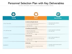 Personnel Selection Plan With Key Deliverables Ppt PowerPoint Presentation Gallery Visual Aids PDF