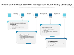 Phase Gate Process In Project Management With Planning And Design Ppt PowerPoint Presentation Icon Demonstration PDF