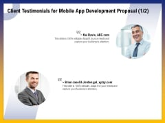 Phone Application Buildout Client Testimonials For Mobile App Development Proposal Ppt PowerPoint Presentation Slides Objects PDF