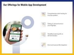 Phone Application Buildout Our Offerings For Mobile App Development Ppt PowerPoint Presentation Gallery Example Topics PDF
