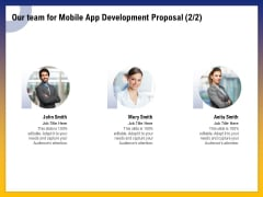 Phone Application Buildout Our Team For Mobile App Development Proposal Planning Ppt Slides Styles PDF