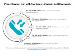 Phone Receiver Icon With Two Arrows Upwards And Downwards Ppt PowerPoint Presentation Summary Example File PDF