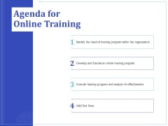 Phone Tutoring Initiative Agenda For Online Training Ppt Gallery Layout Ideas PDF