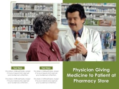 Physician Giving Medicine To Patient At Pharmacy Store Ppt PowerPoint Presentation Pictures Microsoft PDF