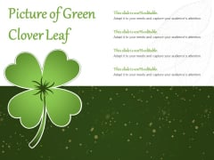 Picture Of Green Clover Leaf Ppt PowerPoint Presentation Model Inspiration