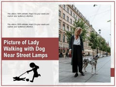 Picture Of Lady Walking With Dog Near Street Lamps Ppt PowerPoint Presentation Gallery Pictures PDF