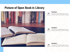 Picture Of Open Book In Library Ppt PowerPoint Presentation Gallery Gridlines PDF