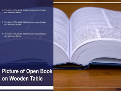 Picture Of Open Book On Wooden Table Ppt PowerPoint Presentation File Background Image PDF