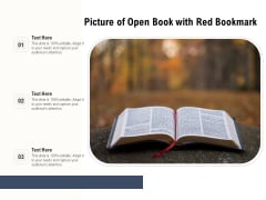 Picture Of Open Book With Red Bookmark Ppt PowerPoint Presentation File Slideshow PDF
