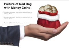 Picture Of Red Bag With Money Coins Ppt PowerPoint Presentation Show Outline