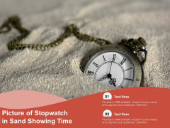 Picture Of Stopwatch In Sand Showing Time Ppt PowerPoint Presentation Pictures Information PDF