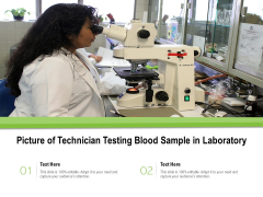 Picture Of Technician Testing Blood Sample In Laboratory Ppt PowerPoint Presentation Styles Portfolio PDF