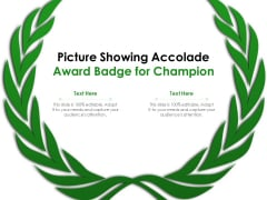 Picture Showing Accolade Award Badge For Champion Ppt PowerPoint Presentation Gallery Infographics PDF