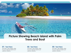 Picture Showing Beach Island With Palm Trees And Boat Ppt PowerPoint Presentation Infographic Template Ideas PDF