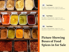 Picture Showing Boxes Of Food Spices In For Sale Ppt PowerPoint Presentation Icon Layout Ideas PDF