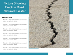 Picture Showing Crack In Road Natural Disaster Ppt PowerPoint Presentation Diagrams PDF