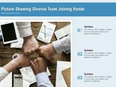 Picture Showing Diverse Team Joining Hands Ppt PowerPoint Presentation Gallery Visual Aids PDF