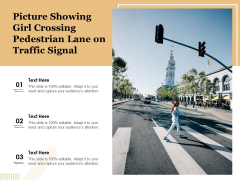 Picture Showing Girl Crossing Pedestrian Lane On Traffic Signal Ppt PowerPoint Presentation Infographics Grid PDF