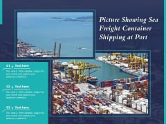 Picture Showing Sea Freight Container Shipping At Port Ppt PowerPoint Presentation Icon Brochure PDF