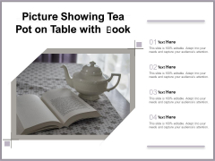 Picture Showing Tea Pot On Table With Book Ppt PowerPoint Presentation Portfolio Model PDF