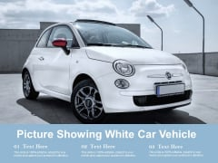 Picture Showing White Car Vehicle Ppt PowerPoint Presentation Slide Download PDF