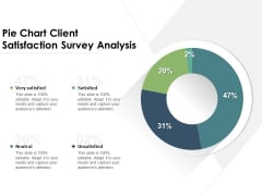 Pie Chart Client Satisfaction Survey Analysis Ppt PowerPoint Presentation Summary Outfit PDF