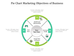 Pie Chart Marketing Objectives Of Business Ppt PowerPoint Presentation Pictures Design Inspiration PDF