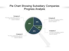 Pie Chart Showing Subsidiary Companies Progress Analysis Ppt PowerPoint Presentation Slides Example Topics PDF