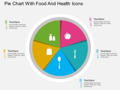 Pie Chart With Food And Health Icons Powerpoint Template