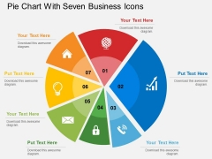 Pie Chart With Seven Business Icons Powerpoint Templates