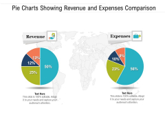 Pie Charts Showing Revenue And Expenses Comparison Ppt PowerPoint Presentation File Objects PDF