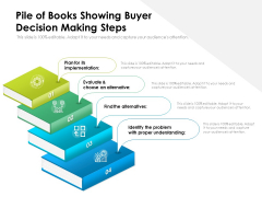 Pile Of Books Showing Buyer Decision Making Steps Ppt PowerPoint Presentation File Background PDF