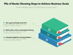 Pile Of Books Showing Steps To Achieve Business Goals Ppt PowerPoint Presentation Gallery Show PDF