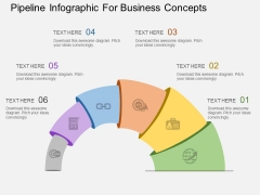 Pipeline Infographic For Business Concepts Powerpoint Templates