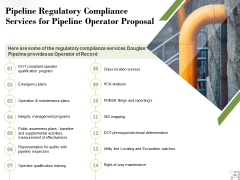 Pipeline Regulatory Compliance Services For Pipeline Operator Proposal Ppt PowerPoint Presentation Model Portrait