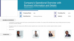 Pitch Deck For Fundraising From Angel Investors Companys Operational Overview With Business Information And Details Brochure PDF