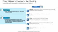 Pitch Deck For Fundraising From Angel Investors Vision Mission And Values Of The Company Ppt Infographics Slide Download PDF