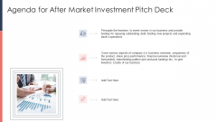 Pitch Deck For Fundraising From Post Market Financing Agenda For After Market Investment Pitch Deck Clipart PDF