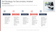 Pitch Deck For Fundraising From Post Market Financing Exit Strategy For Secondary Market Investors Icons PDF