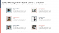 Pitch Deck For Fundraising From Post Market Financing Senior Management Team Of The Company Background PDF