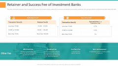 Pitch Deck For General Advisory Deal Retainer And Success Fee Of Investment Banks Mockup PDF