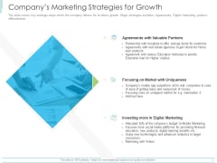 Pitch Deck For Mezzanine Financing Companys Marketing Strategies For Growth Ppt Infographic Template Skills PDF