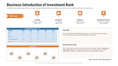 Pitch Deck For Procurement Deal Business Introduction Of Investment Bank Ppt Inspiration Templates PDF