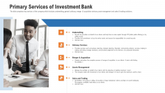 Pitch Deck For Procurement Deal Primary Services Of Investment Bank Ppt Inspiration Introduction PDF