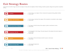 Pitch Deck For Raising Capital For Inorganic Growth Exit Strategy Routes Inspiration PDF