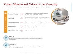 Pitch Deck For Raising Capital For Inorganic Growth Vision Mission And Values Of The Company Diagrams PDF