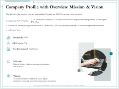 Pitch Deck For Raising Funds From Product Crowdsourcing Company Profile With Overview Mission And Vision Graphics PDF