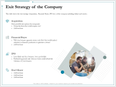 Pitch Deck For Raising Funds From Product Crowdsourcing Exit Strategy Of The Company Summary PDF
