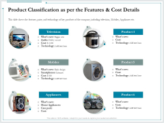 Pitch Deck For Raising Funds From Product Crowdsourcing Product Classification As Per The Features And Cost Details Demonstration PDF